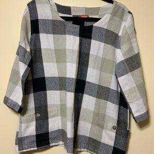Xl blk, gray , tan & white plaid long sleeve top
